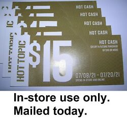 5 Hot Topic Hot Cash 15 Off 30 Coupons Mailed In-store Use Only 7/8-7/20/21