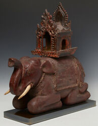 19th Century, Mandalay, Antique Burmese Wooden Elephant With The Chair On Top