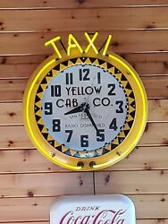 Vintage Electric Neon Clock Co.yellow Cab Co. Sf Excellent Condition