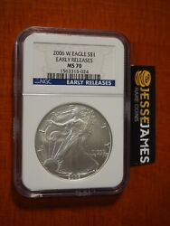 2006 W Burnished Silver Eagle Ngc Ms70 Early Releases Blue Label