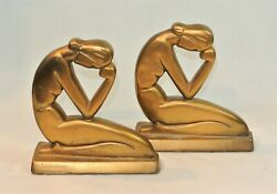 Vintage Art Deco Stylized Cubist Nude Woman Bookends Pair Gold Metal Modigliani