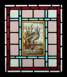 Beautiful Rare Painted Heron On Pond English Victorian Stained Glass Window