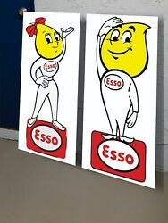 Esso Boy And Girl Oil Drop Vintage Old Style Gas And Oil Sta. Sign Pump Exxon Mobil