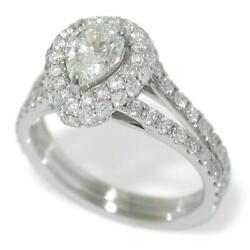 1.92 Tcw Diamonds Pear Halo Engagement Ring In 18k White Gold Size 6.25