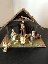 """Old Wooden Nativity Set With Nine Figurines 7 X 14 X 12""""h Made In Italy. 3"""