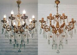 Matching Pair Of Antique Vintage 8 Arms Cast Brass And Crystals Chandelier Light