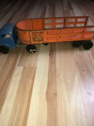 Vintage Structo Toys Overland Freight Lines Truck And Trailer Blue / Orange