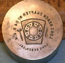 1921 Long Beach Ca Chapter No 84 Ram Masonic Penny Stamping Die Mc Lilley