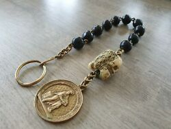 Antique Special Rosary 10 Beads Made Of Seeds With Momento Mori