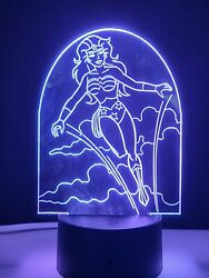 Laser Cut And Engraved Wonder Woman 3d Acrylic Led Light Lamp