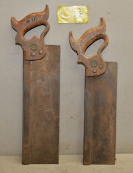 2 Disston Carpenter Tenon Saw 14 And 12 Woodworking Collectible Vintage Tools S3