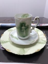 Antique Rc Rosenthal Monbijou Printemps Green Lady. Cup, Saucer And Plate