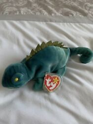 Ty Beanie Baby- Iggy The Iguana Excellent Condition- Tag With Errors Very Rare