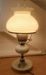 Vintage White Hobnail Milk Glass Electric Hurricane Lamp With Clear Chimney
