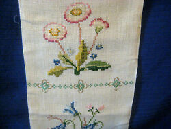 Needlework vtg wall hanging long Scandinavian embroidery floral 45quot; 6.25quot; PJT26