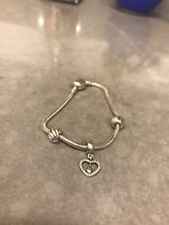 Pandora Moments Sterling Silver Bracelet With Heart Clasps Andcharm