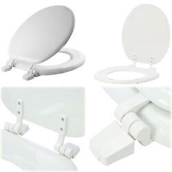 Toilet Seat Replacement Round White Closed Front Standard Wood Seat W/ Hinges