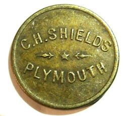 Antique C.h. Shields 5 Cent Trade Token Plymouth Cal Gold Country Hwy 49