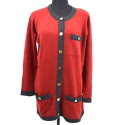 Cc Logos Button Front Opening Long Sleeve Cardigan Red Gray 35549
