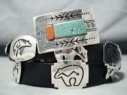 Important Signed Vintage Navajo Spiderweb Turquoise Sterling Silver Concho Belt