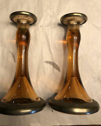 Beautiful Pair Art Glass Amber Clear Candlesticks Marked 101 Metal Rimmed Base