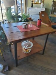 Industrial Table Kitchen Island With Reclaimed Wood Top - Bolted Breadboard Ends