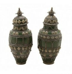 Pair Of Beautiful Antique Persian White Metal Mounted Green Glazed Pottery Vases