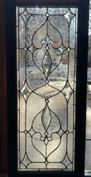 Antique Chicago Leaded And Beveled Glass Transom Window W/ Jewels Circa 1890