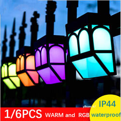 Outdoor Solar Fence Lights Led Post Decorative Lamp Lighting Garden Rgb And Warm