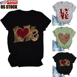 Women Valentine#x27;s Day Love Printed Short Sleeve T Shirt Tops Casual Loose Blouse $13.48