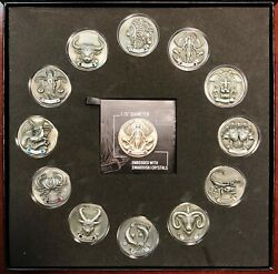 My Zodiac 12-coin Complete Set Of 3-d Glow In The Dark Coins With Coas And Case