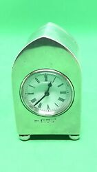 Antique French Sterling Solid Silver Miniature Clock Chester 1905 James Deakin And