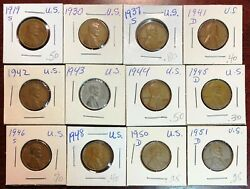 Lot Of 12x Usa Lincoln Wheat Cents - Dates 1919-s To 1951-d