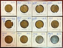 Lot Of 12x Usa Lincoln Wheat Cents - Dates 1919 To 1943-d
