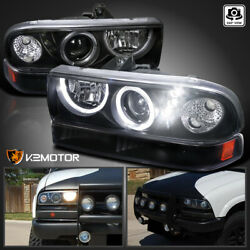 Fits Black 1998 2004 Chevy S10 Blazer LED Halo Projector HeadlightsBumper Lamps