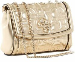 Guess New Wave Mini Crossbody Gold Metallic Chain Strap Quilted Signature Logo $49.50