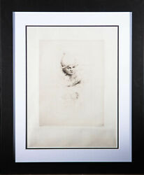 Sidney Tushingham 1884andndash1968 - Early 20th Century Etching Child In A Sleigh