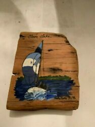 Vintage Clear Lake Iowa Hand Painted Wood Plank Wall Hanging