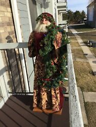 Rare 5 Ft Signed Ditz Santa Claus Victorian Style And Light Blub Garland 65/1000