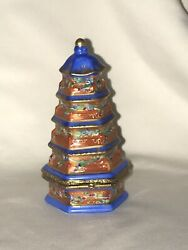 Rochard Limoges France Hand Painted Asian Temple Pagoda Trinket Box