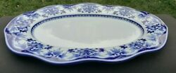 Bombay Blue White Floral Oriental Large Covered Soup Tureen Platter 18 X 12