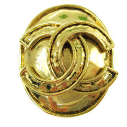 Cc Logos Brooch Pin Corsage Gold-tone 94p Accessories Authentic 01720