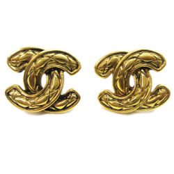 Cc Quilted Earrings Clip-on Gold-tone Vintage 2433 A54091