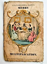 Antique Grandmamma Easyand039s Merry Multiplication Dean And Son Cloth Book C.1850