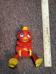 Vintage Child's Celluloid Red Clown Baby Rattle Toy