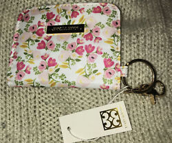 Mary Square Lancaster Meadows Floral Id Wallet Gold Tone With Keychain Ring Nwt