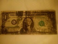 1977 One Dollar Bill Error Ink Smear- 3/4 Of The Front Is Covered In Ink.