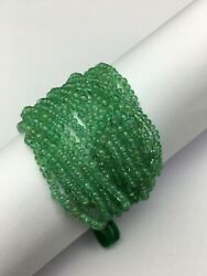 Natural Columbian Emerald Smooth Rondelle Shape Beads Bunch For Jewelry Maker