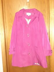 RELATIVITY WOMENS PINK RAINCOAT SIZE LARGE REMOVABLE HOOD