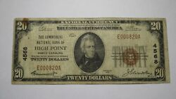20 1929 High Point North Carolina Nc National Currency Bank Note Bill Ch. 4568